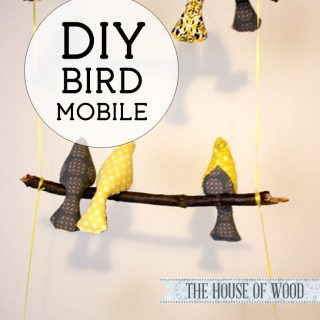 How to make a DIY fabric bird mobile | The House of Wood #nursery #mobile #bird #yellow #gray