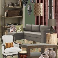African Mask Living Room Mood Board