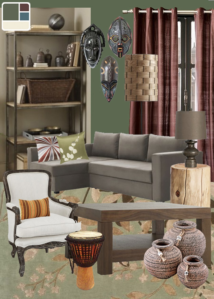 African Mask Rustic Living Room Mood Board
