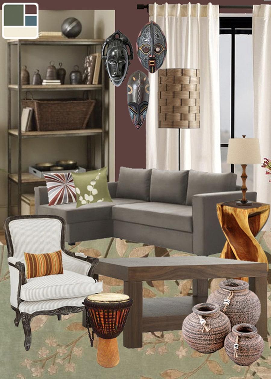 African Mask Rustic Living Room Mood Board