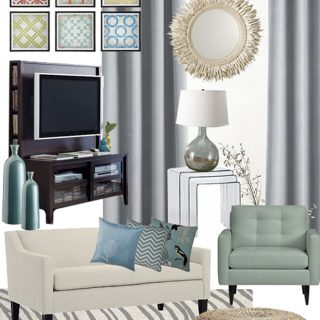 Airy and Aqua Living Room Mood Board
