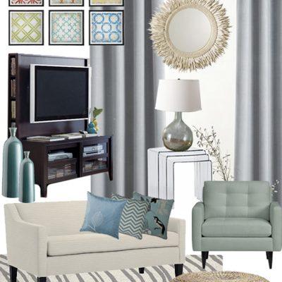 Airy and Aqua Living Room Mood Board