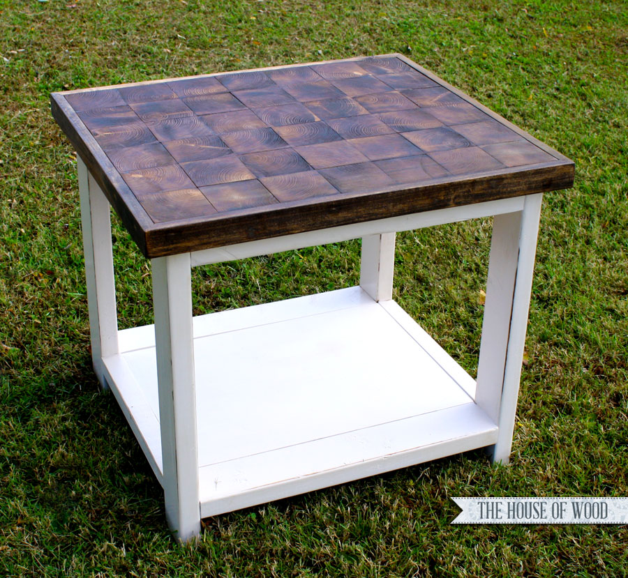 Diy end grain end table for Diy coffee and end tables