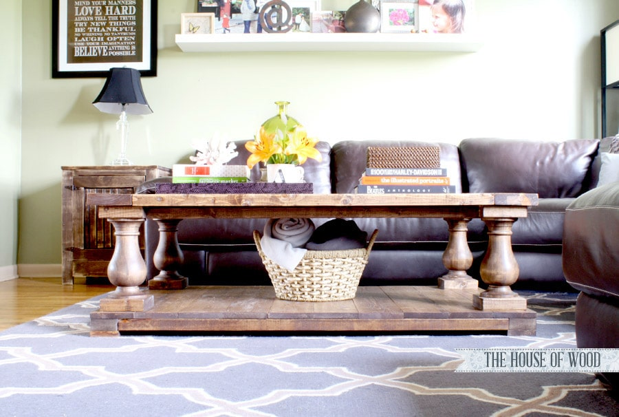Build this beautiful Restoration Hardware-inspired coffee table with turned legs and farmhouse look! www.jenwoodhouse.com/blog