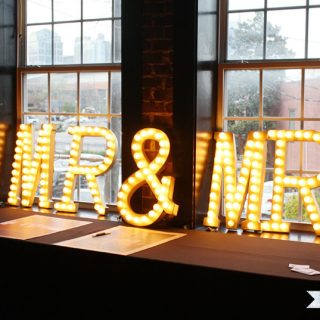 Make this DIY lighted wedding marquee with just a few materials from the craft store! www.jenwoodhouse.com/blog