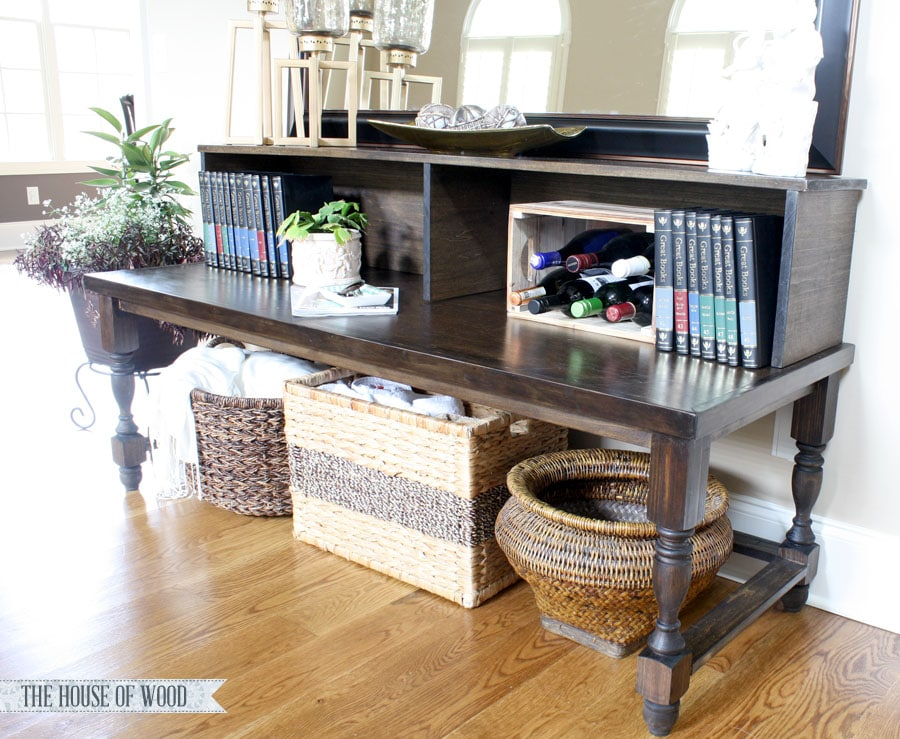 Make this two-tiered foyer console table - easy beginner project from The House of Wood | www.jenwoodhouse.com/blog