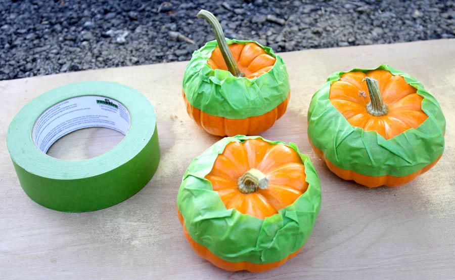 gold-dipped pumpkins