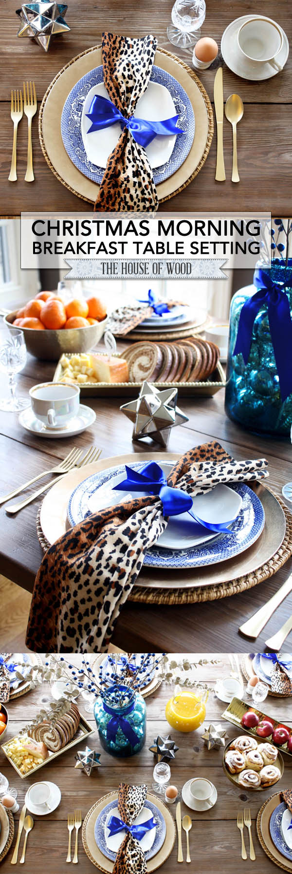 Bring color and glam to your holiday table with this stunning Christmas tablescape decorated with leopard print, royal blue, and gold! | www.jenwoodhouse.com/blog