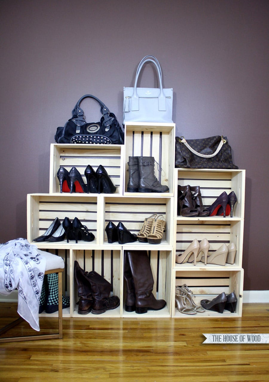 easy shoe storage display the house of wood. Black Bedroom Furniture Sets. Home Design Ideas