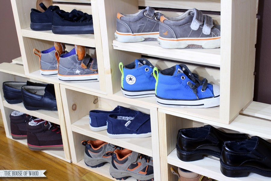 DIY crate shoe storage display