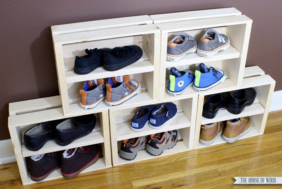 DIY crate shoe storage display