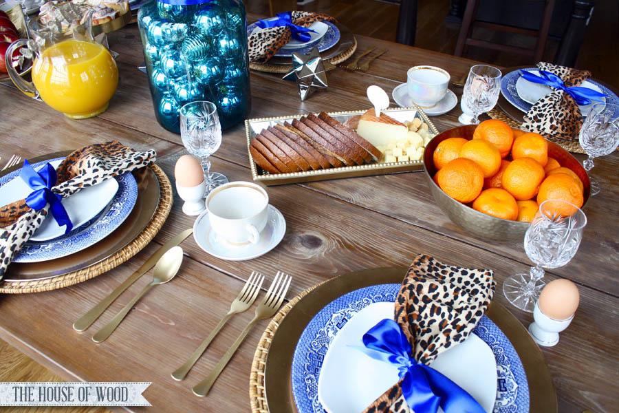 Christmas breakfast table setting