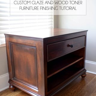 How to use custom glaze and wood toner to finish a DIY printer table. In-depth tutorial at www.jenwoodhouse.com/blog