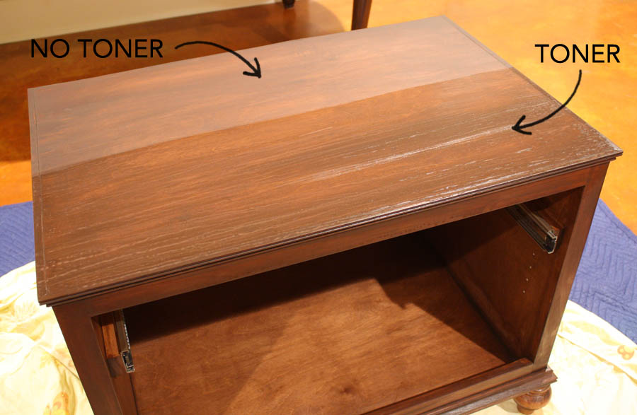 how to use a wood toner on furniture