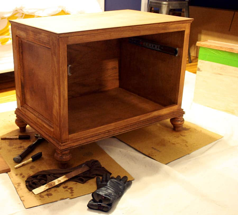 stained printer table