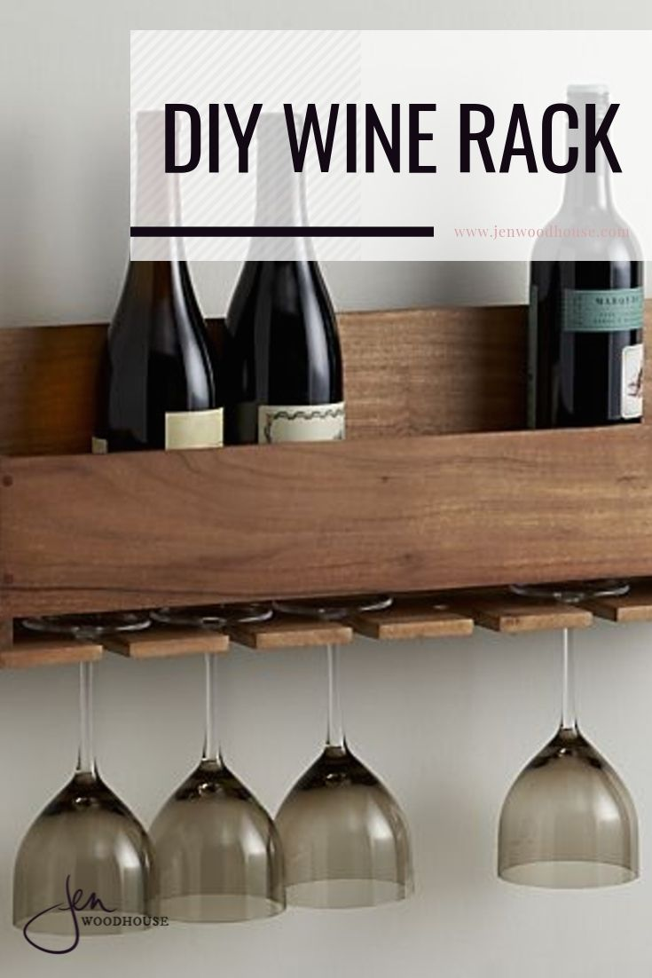 Easily build this Crate and Barrel inspired DIY wine rack from Jen Woodhouse!  | #DIY #winerack #jenwoodhouse