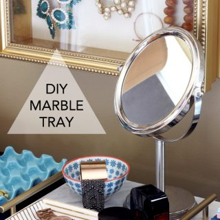 Make an elegant yet inexpensive DIY marble tray with just a few supplies from the hardware store! www.jenwoodhouse.com/blog