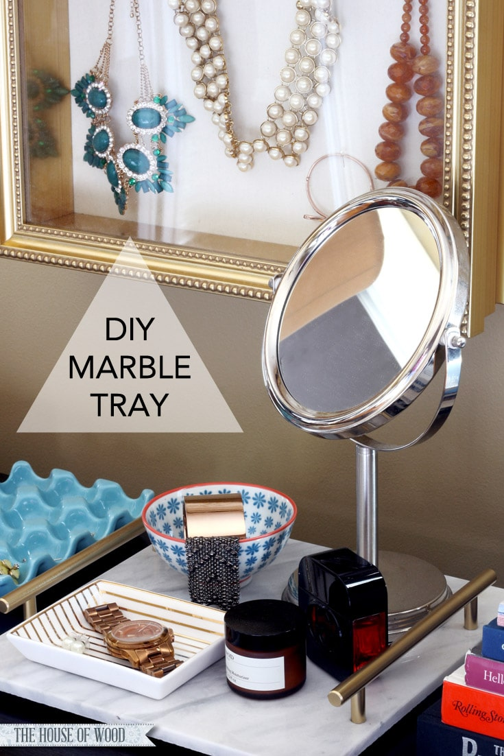 Make a elegant yet inexpensive DIY marble tray with just a few supplies from the hardware store! www.jenwoodhouse.com/blog