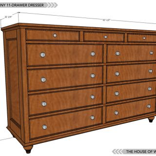 Build an 11-drawer dresser with free plans and tutorial!