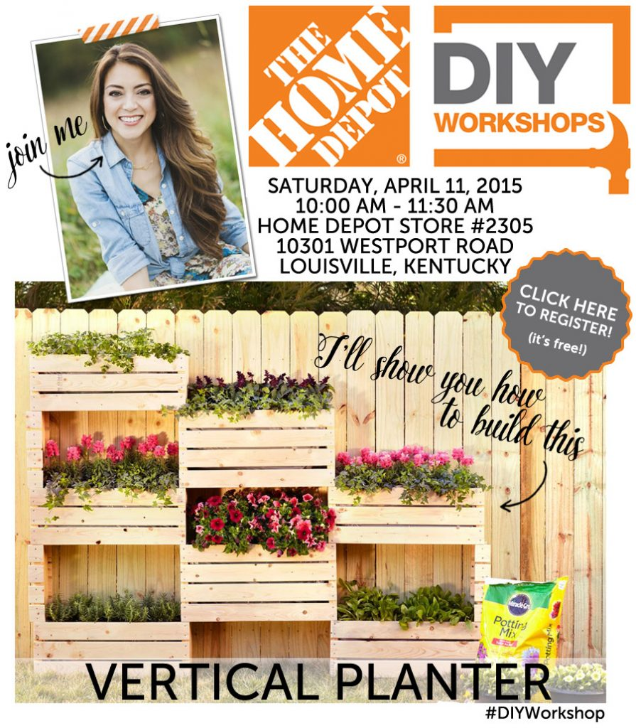 Attend this free DIY Workshop at The Home Depot and learn how to build a vertical planter! Co-hosted by Jen Woodhouse
