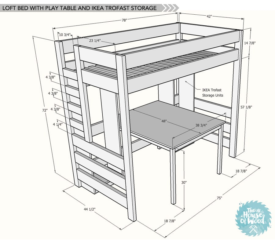 Diy loft bed with desk and storage for Bunk bed woodworking plans