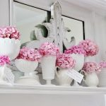 Pink Hydrangea and Milk Glass Mantel