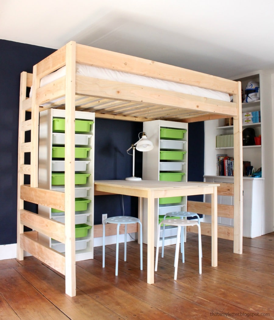 diy loft bed with desk and storage. Black Bedroom Furniture Sets. Home Design Ideas