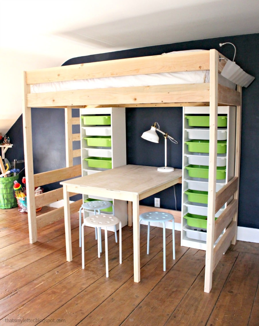 Bunk bed with desk underneath plans - Diy Loft Bed