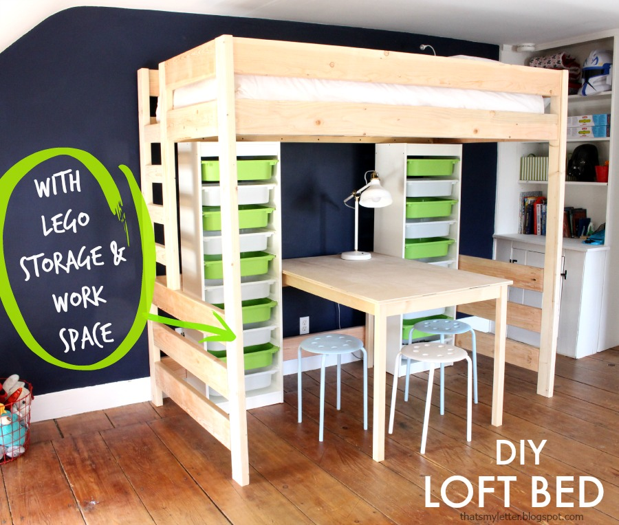 plans for building a loft bed with desk