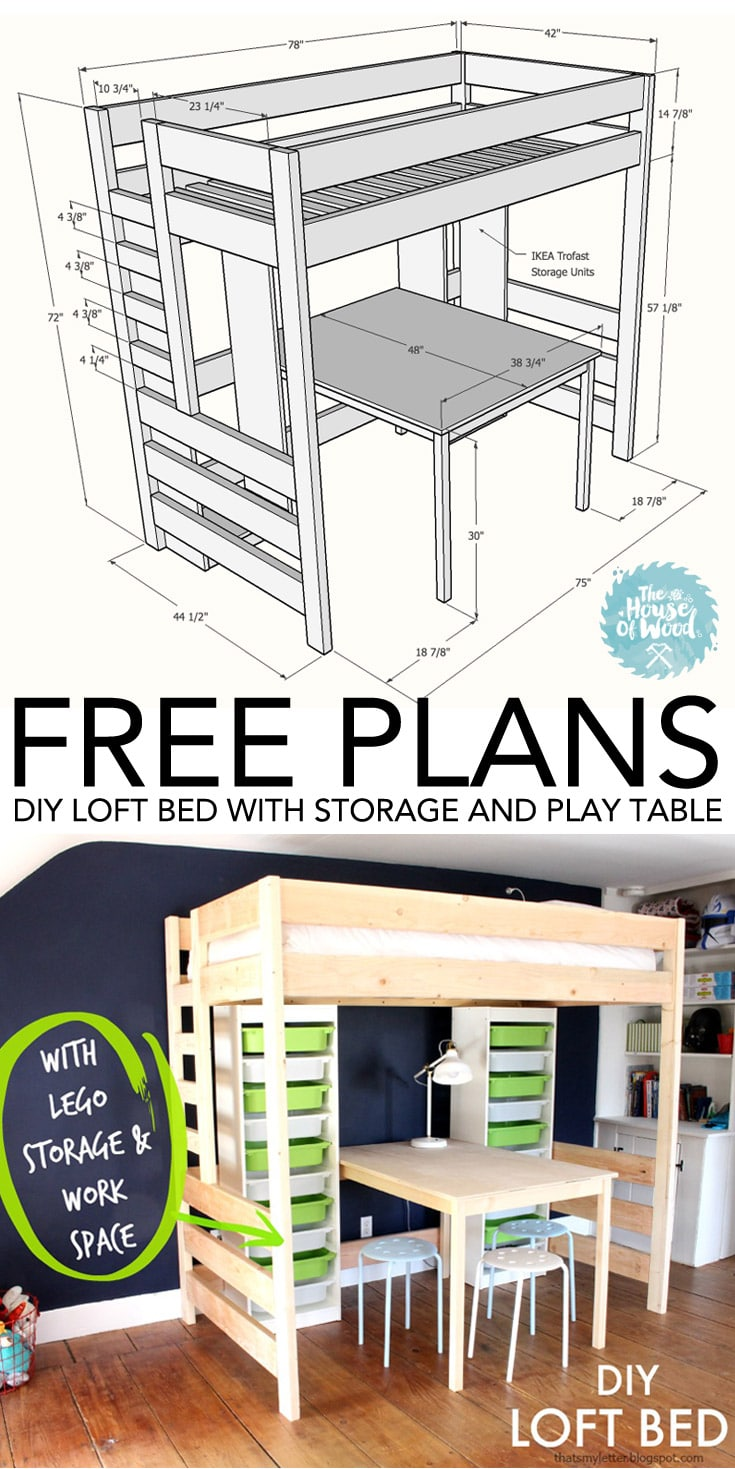 Diy loft bed with desk and storage for How to make a loft room