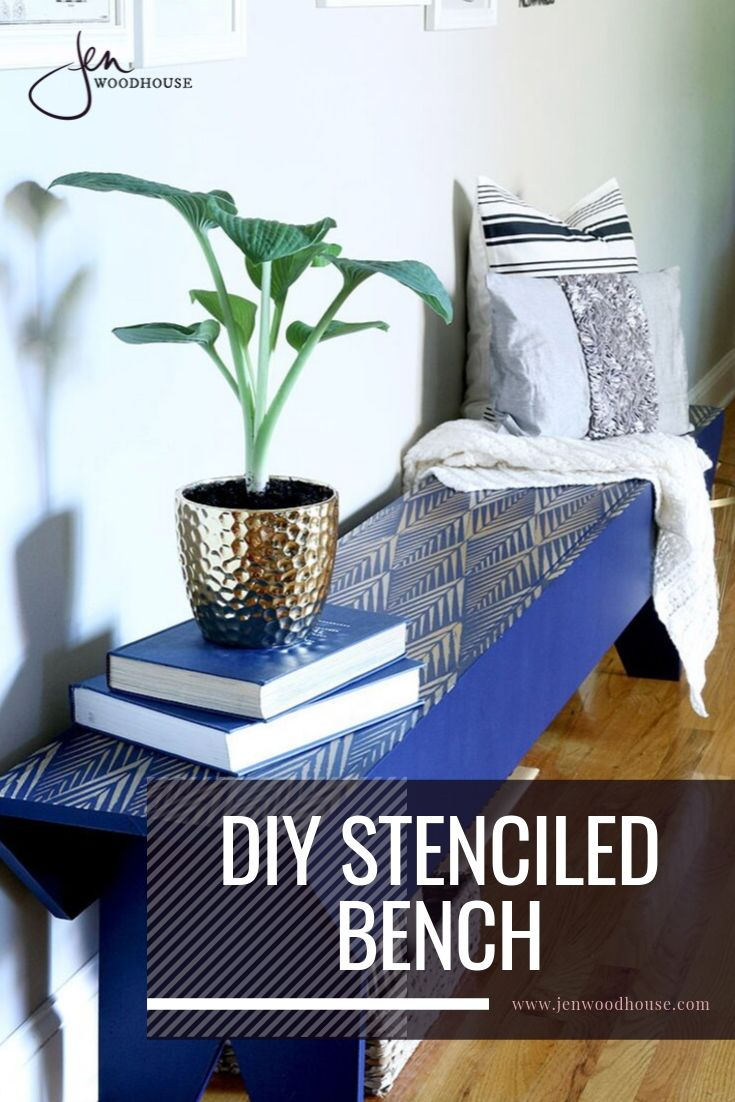 Give new life to old furniture with this DIY stenciled bench tutorial from Jen Woodhouse | #jenwoodhouse #stenciledfurniture #DIYfurniture
