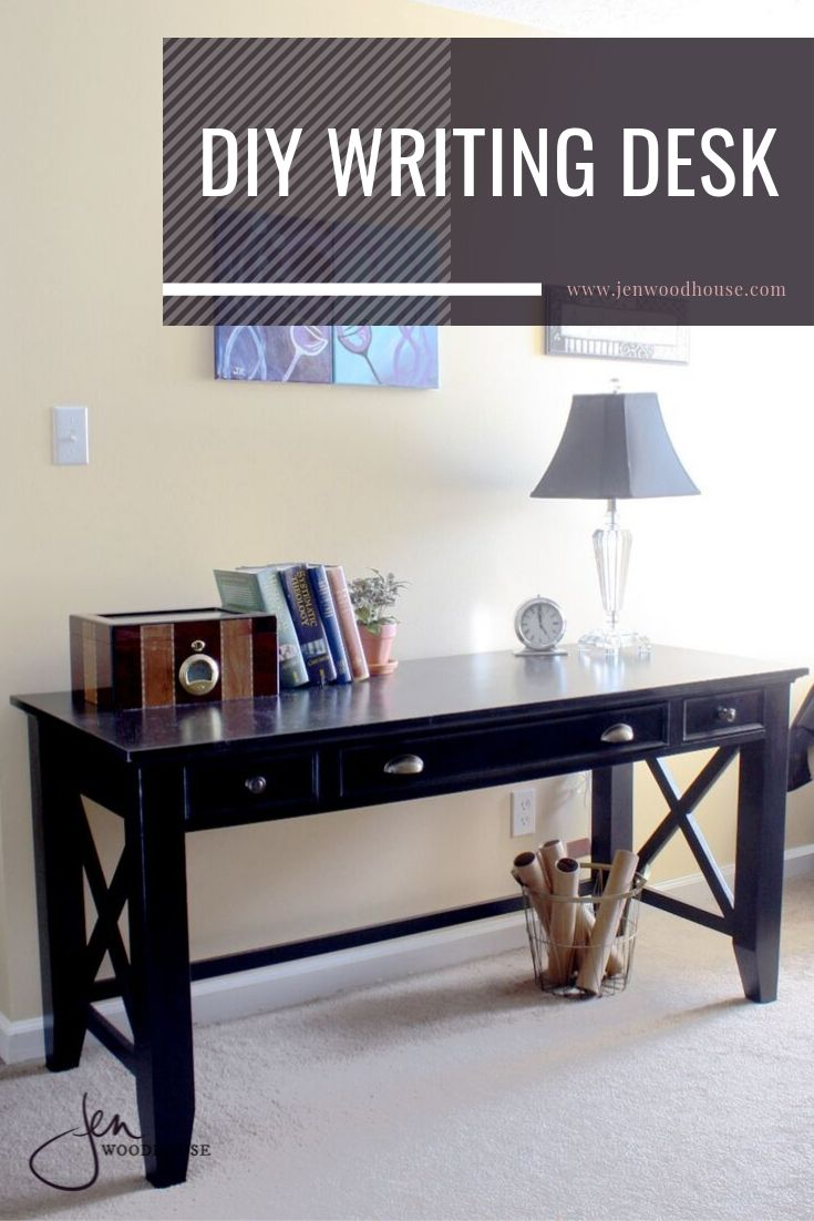 Grab these FREE plans for a simple writing desk, perfect for a home office!   Jen Woodhouse #jenwoodhouse #DIY #writingdesk