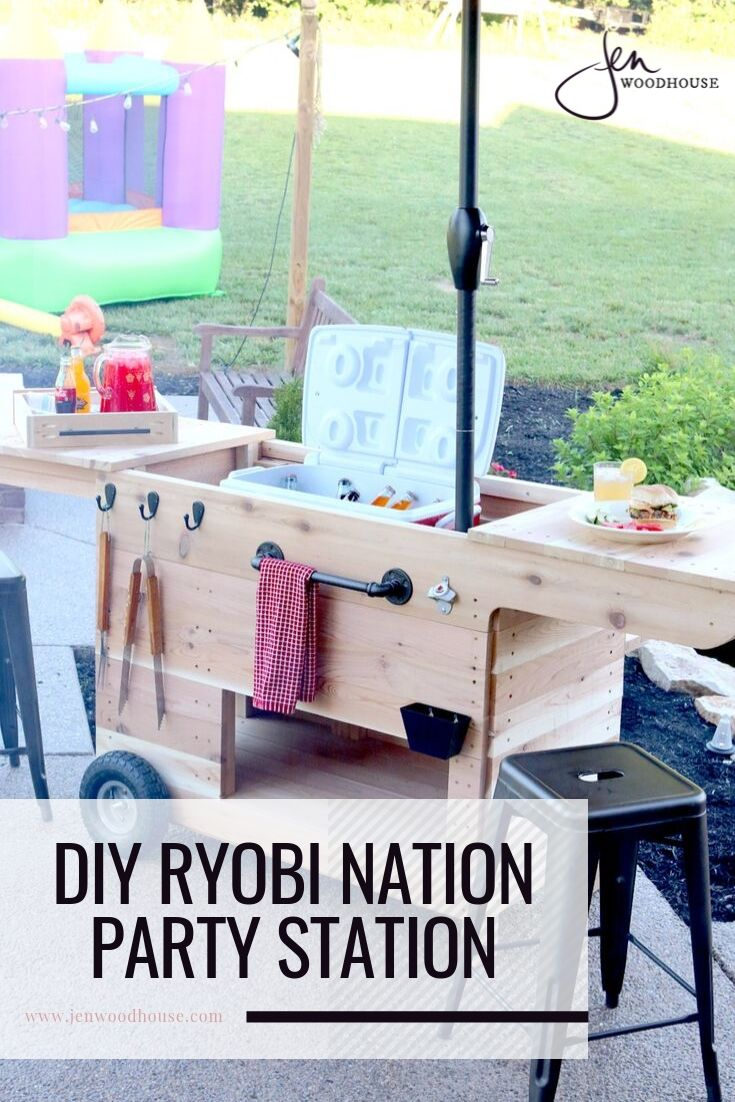 This DIY Ryobi Nation Party Cart is the perfect addition to your summer parties! | DIY outdoor furniture | #DIY #patiofurniture #outdoorfurniture