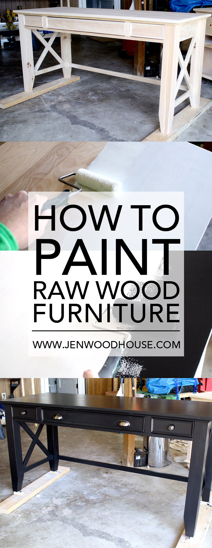 In-depth tutorial on how to paint raw wood furniture | www.jenwoodhouse.com