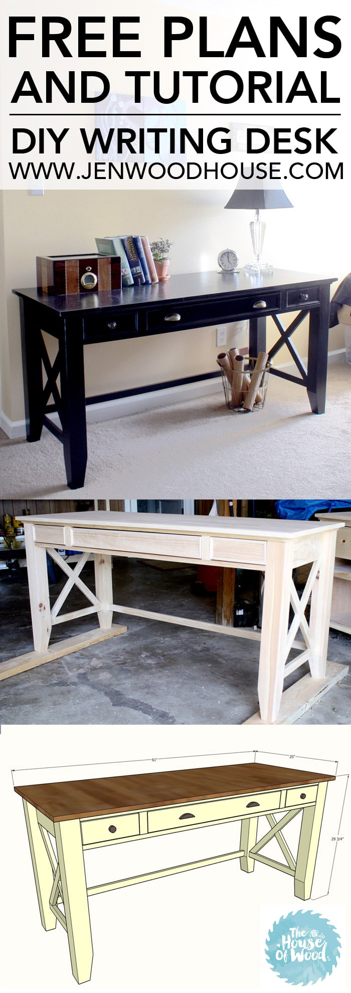 How to build a DIY writing desk. Free plans and step-by-step tutorial!