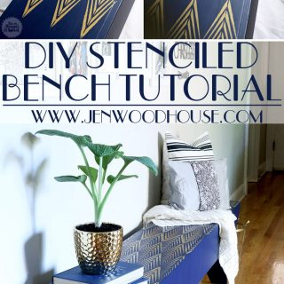 Great tutorial on how to stencil a DIY bench - gorgeous! She has plans on how to build the bench from scratch too!