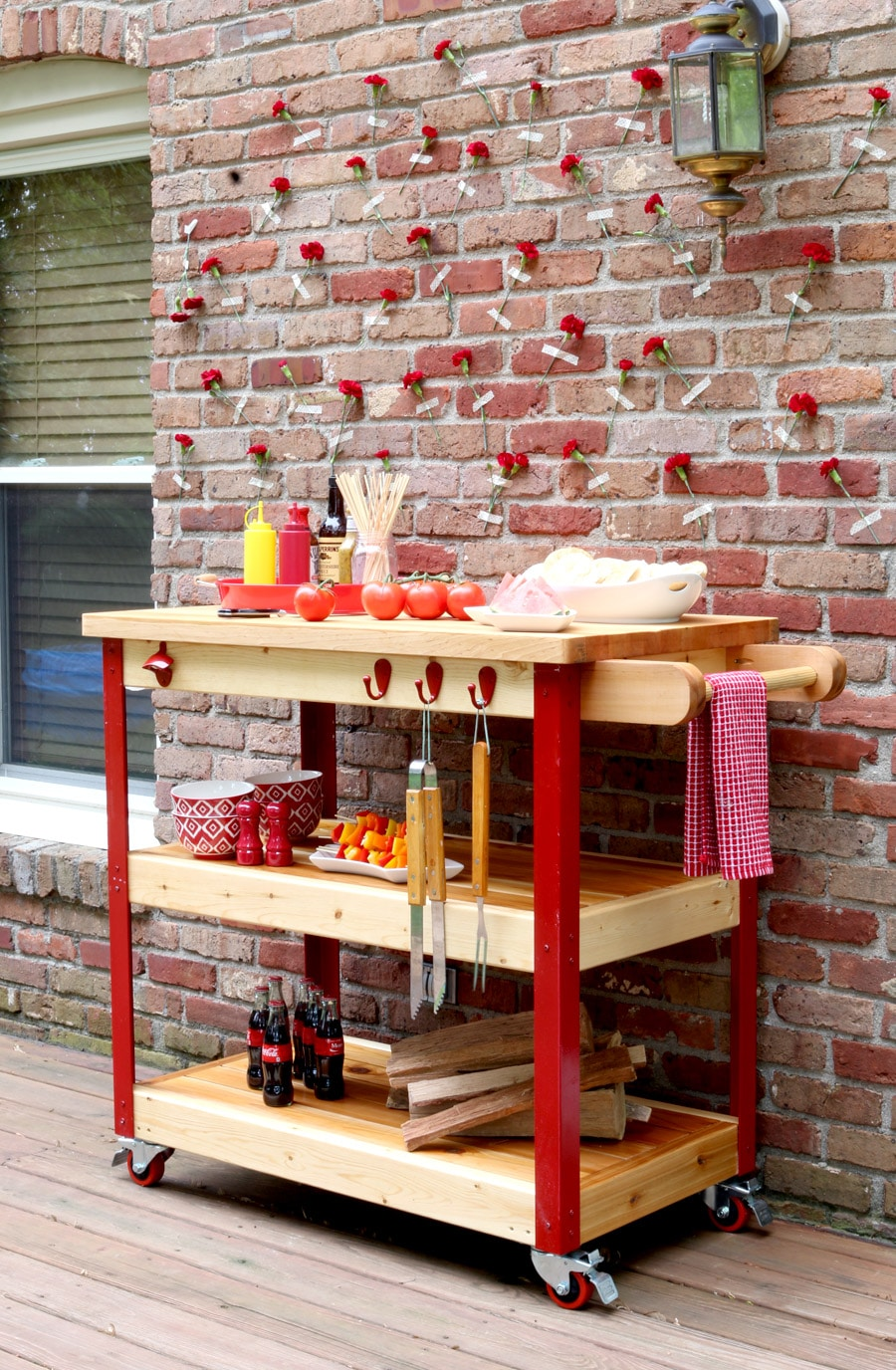 How to build an outdoor rolling grill cart