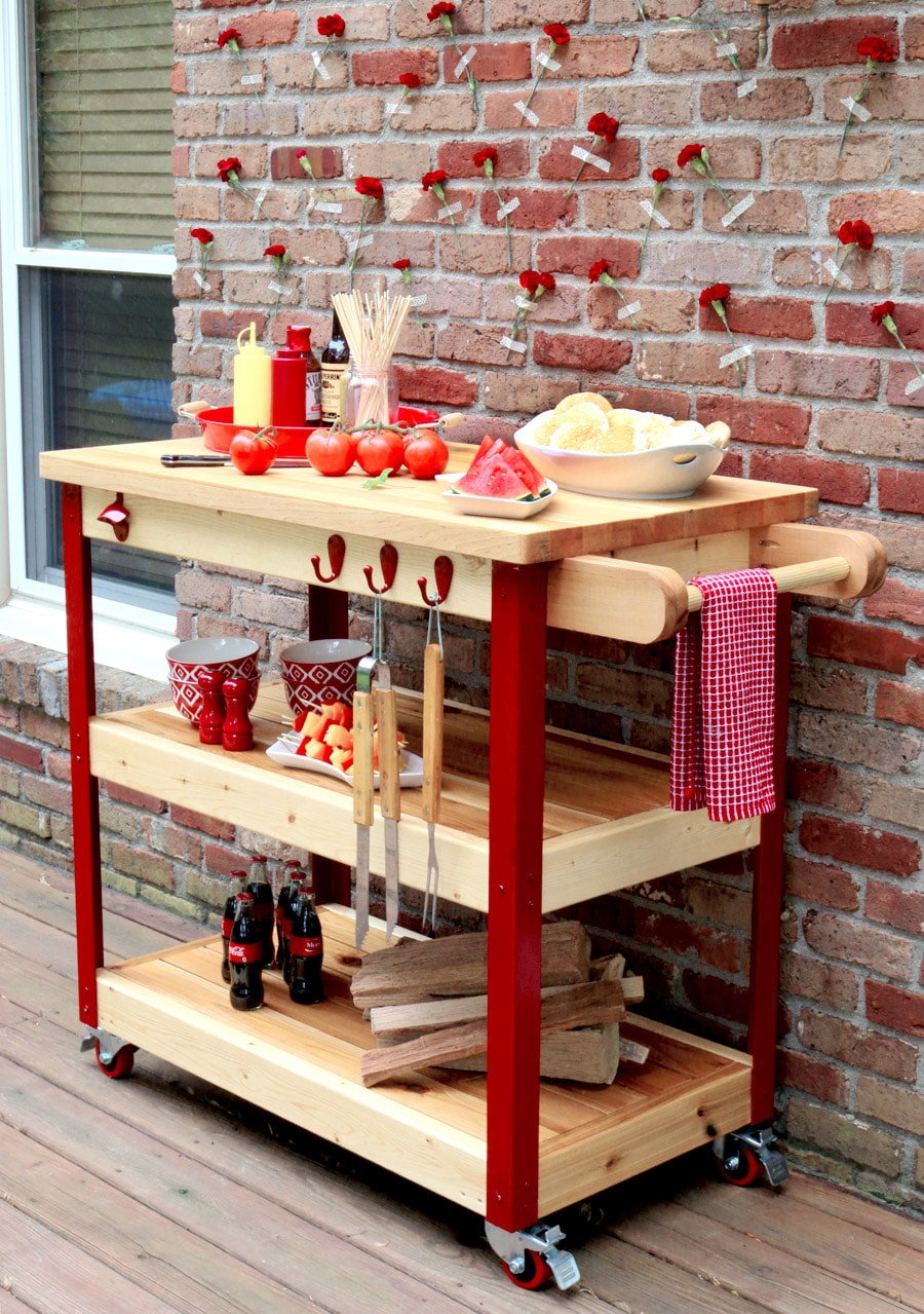 How to build a rolling grill cart - free plans and tutorial