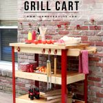 Butcher Block Rolling Grill Cart
