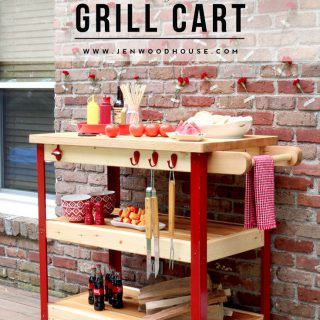 Butcher Block Rolling Grill Cart