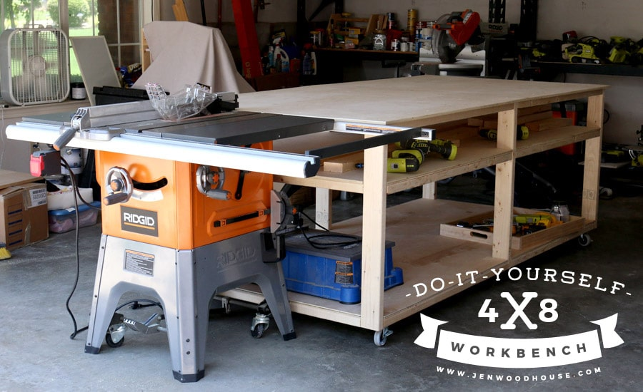 #Howto build a #DIY #workbench and table saw out-feed table. Build this for about $100! #Freeplans and #tutorial.
