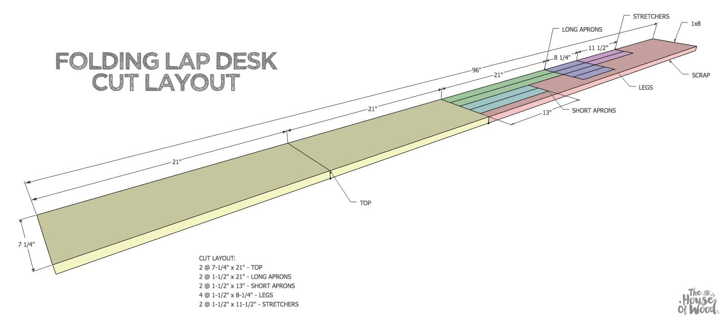 How to build a folding lap desk out of a single 1x8 board