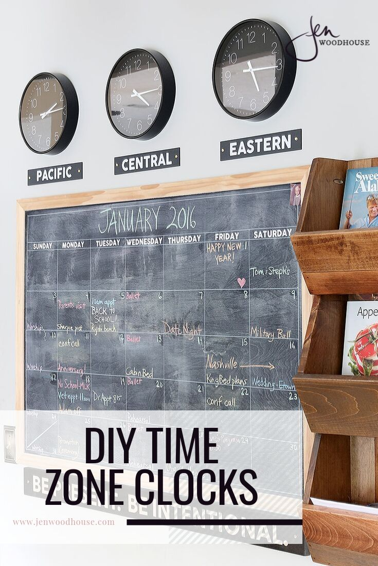 Add charm to your home office with these DIY time zone clocks from Jen Woodhouse! | #jenwoodhouse #timezomeclock