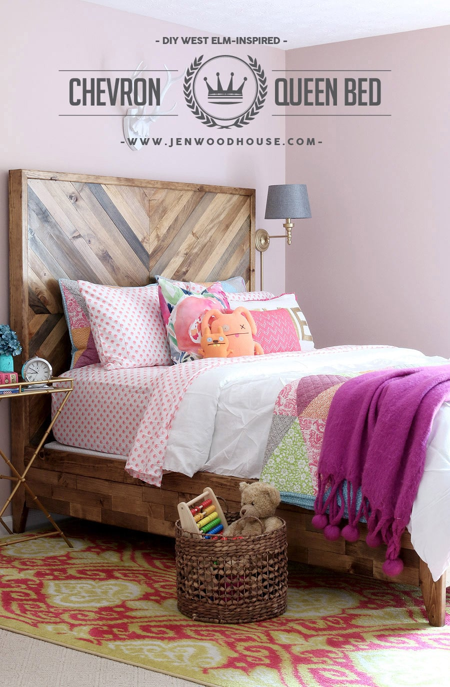 best website 69403 2b7f5 How to build a DIY Reclaimed Wood Chevron West Elm Alexa Bed