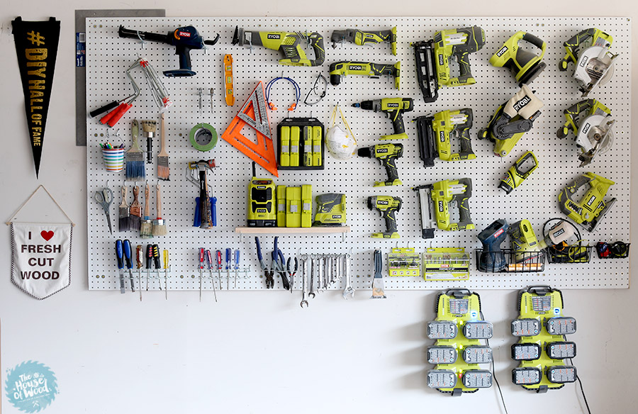 Organized garage/workshop with pegboard