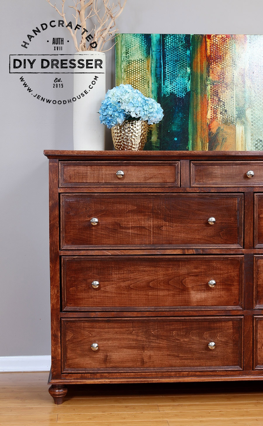 How to build a DIY 9-drawer dresser via Jen Woodhouse