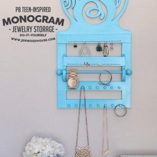 DIY PB Teen-Inspired Monogram Wall Jewelry Storage