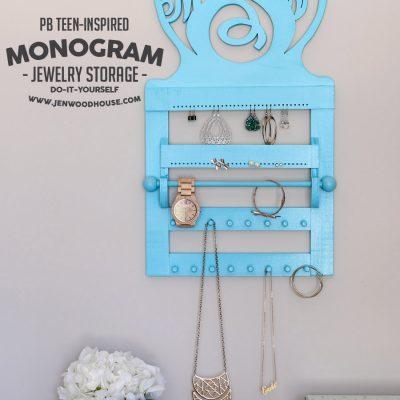 PB Teen-Inspired Monogram Wall Jewelry Storage