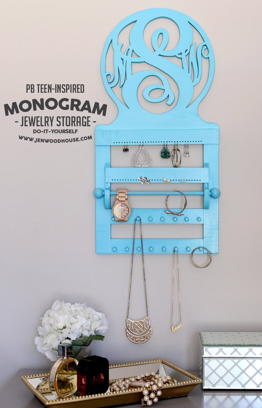 PB Teeninspired monogram wall jewelry storage