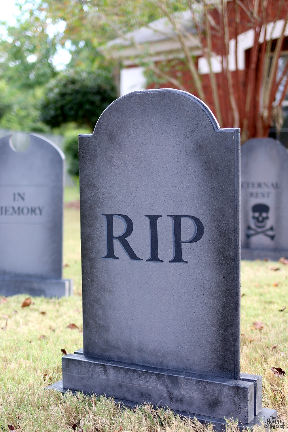 DIY Halloween Lawn Gravestones - The House of Wood